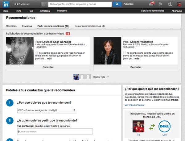 recomendación en LinkedIn