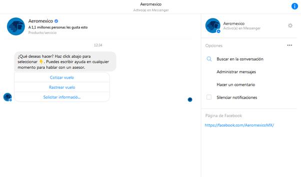 Aerobot, chatbot de Aeroméxico en Facebook