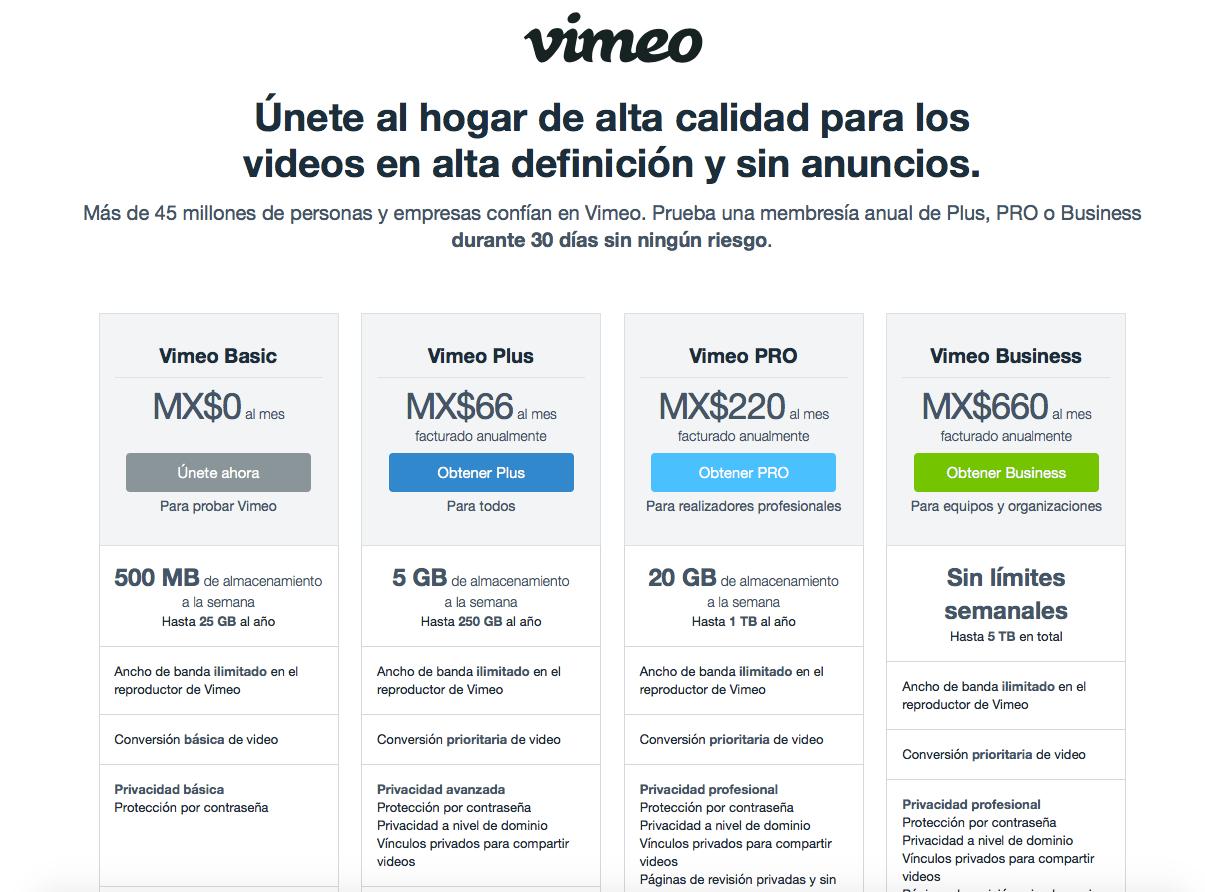 ventajas y desventajas de vimeo