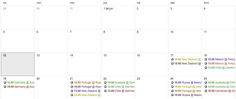 agrega el calendario de la Copa Confederaciones 2017