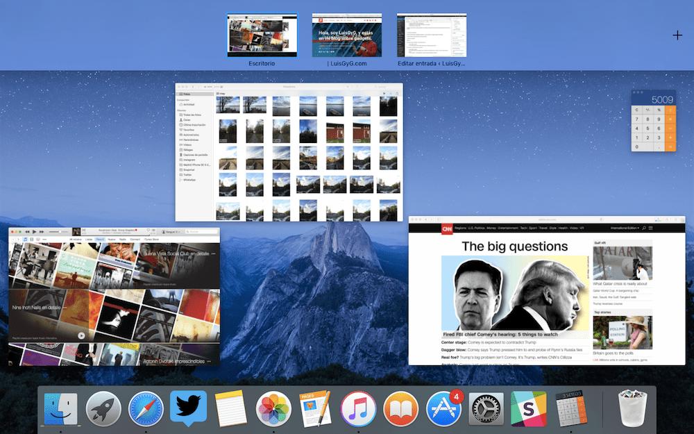 Escritorios multiples Mac. Cambiar de escritorio en Mac. Comando para duplicar pantalla en Mac.