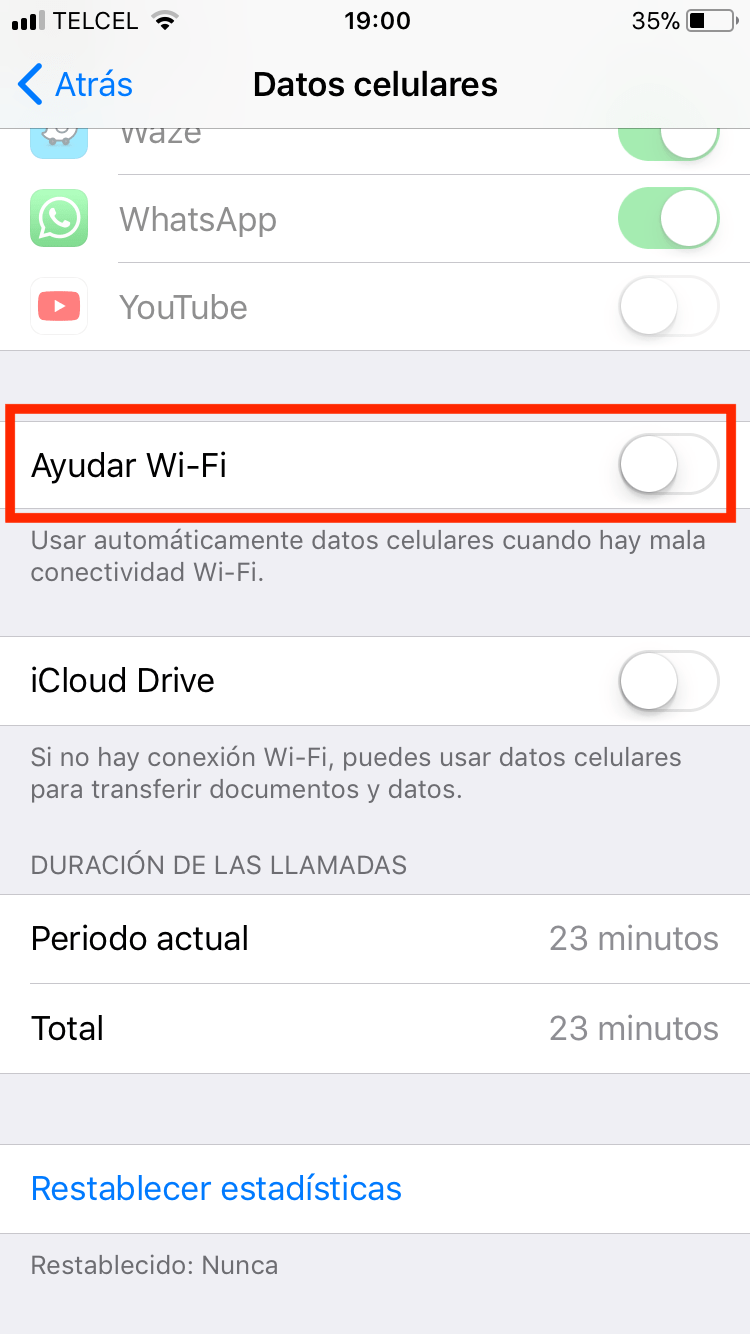 uso de datos en el iPhone